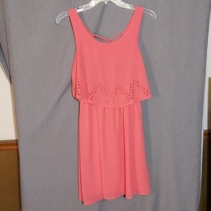 YA Los Angeles silk apricot lined dress size S